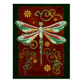Dragonfly Elegant Jeweled 2 Folk Art Postcard