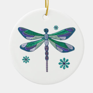 Dragonfly Elegant Jeweled  Folk Art Round Ceramic Decoration