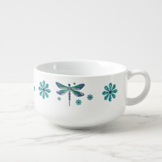 Dragonfly Elegant Jeweled Folk Art Soup Mug