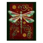 Dragonfly Elegant Jewelled 2 Folk Art Postcard