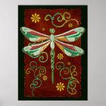 Dragonfly Elegant Jewelled 2 Folk Art Poster