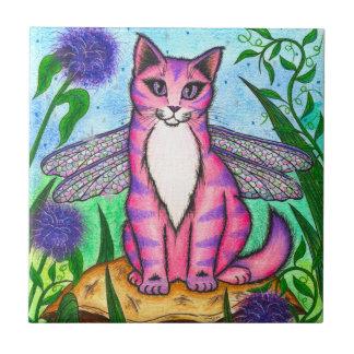 Dragonfly Fairy Cat Fantasy Art Tile