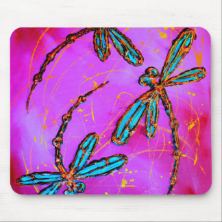 Dragonfly Flit Electric Pink Mouse Mat