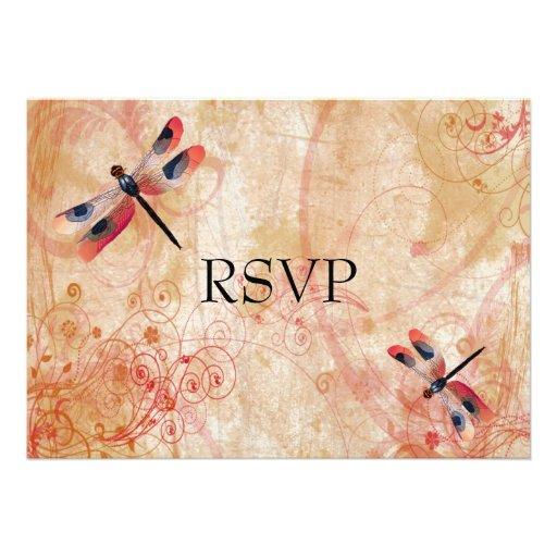 Dragonfly Flourish Reception RSVP Personalized Announcement