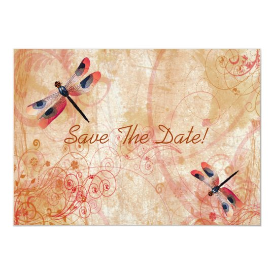 Dragonfly Flourish Save The Date Card