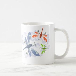dragonfly flower coffee mug
