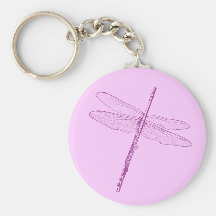 Dragonfly Flute Basic Round Button Key Ring