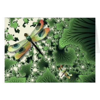 Dragonfly Fractals Card (Green)
