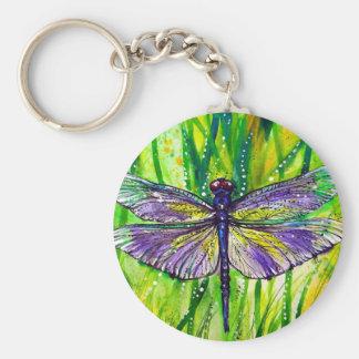 Dragonfly Garden Basic Round Button Key Ring
