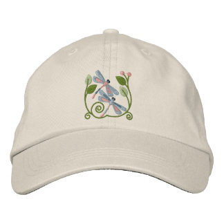 Dragonfly Garden Embroidered Hat