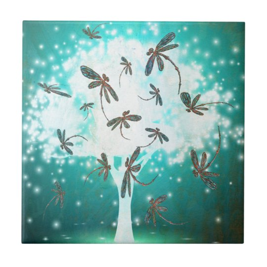 Dragonfly Glow Tree Tile