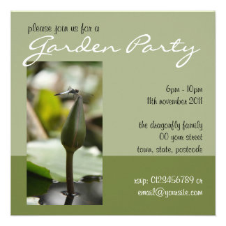Dragonfly green Garden Party Invitation