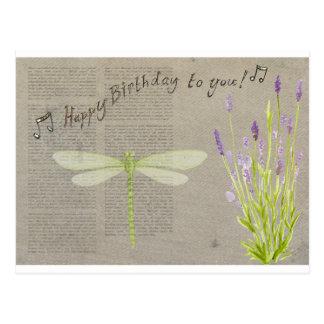 dragonfly happy birthday postcard