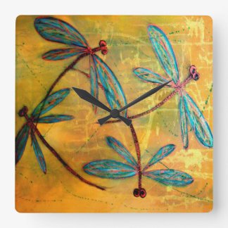 Dragonfly Haze Square Wall Clock