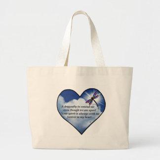 Dragonfly Heart Poem Large Tote Bag