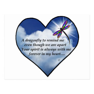 Dragonfly Heart Poem Postcard