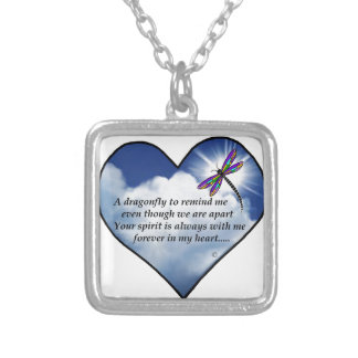 Dragonfly Heart Poem Silver Plated Necklace
