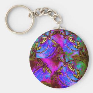 Dragonfly Hippy Flit Basic Round Button Key Ring