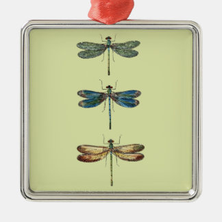Dragonfly Illustrations Silver-Colored Square Decoration
