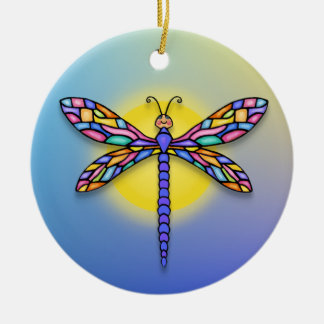 Dragonfly - in blues (round) christmas ornament