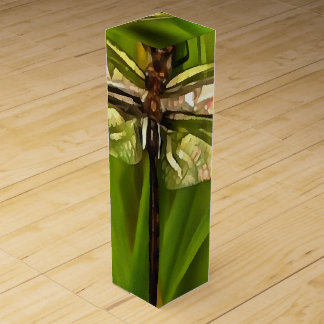 Dragonfly In Brown And Yellow Wine Bottle Box