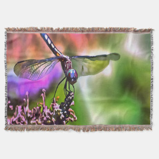 Dragonfly In Green and Blue Throw Blanket