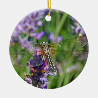 Dragonfly in Lavender Garden Christmas Ornament