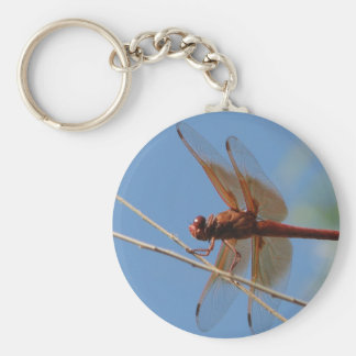 dragonfly in orange basic round button key ring
