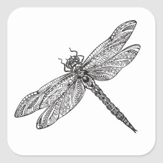 Dragonfly In Style Square Sticker
