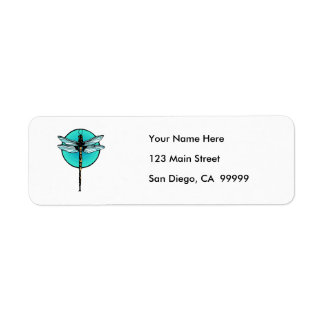 Dragonfly in Turquoise Circle Return Address Label
