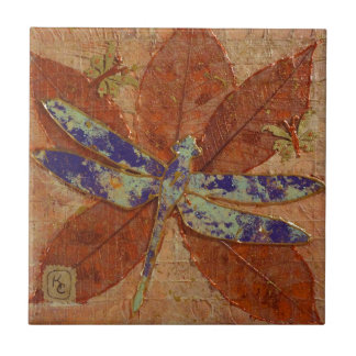 Dragonfly In Violet Tile