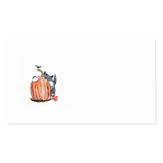 Dragonfly Leads Kitten through the Pumpkin Patch Business Card Templates