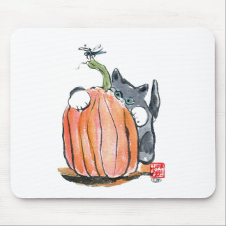 Dragonfly Leads Kitten Through the Pumpkin Patch Mouse Pad