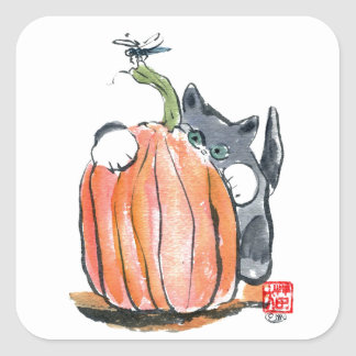 Dragonfly Leads Kitten Through the Pumpkin Patch Square Sticker