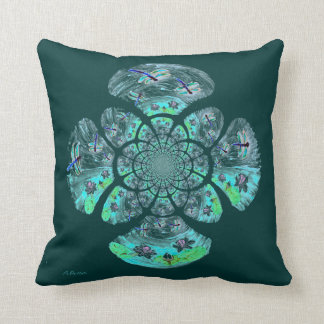 Dragonfly Lillies Flowers Pattern Cushion