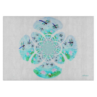 Dragonfly Lillies Flowers Pattern Cutting Board