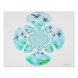 Dragonfly Lillies Flowers Pattern Poster