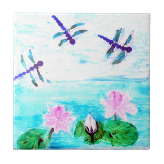 Dragonfly, Lily Flowers Pond Painting Tile
