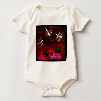 Dragonfly Lily Pond Abstract Art Baby Bodysuit