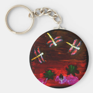 Dragonfly Lily Pond Abstract Art Basic Round Button Key Ring