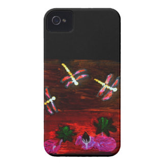 Dragonfly Lily Pond Abstract Art Case-Mate iPhone 4 Case