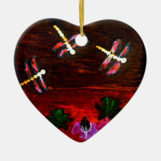 Dragonfly Lily Pond Abstract Art Ceramic Heart Decoration