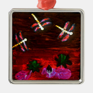 Dragonfly Lily Pond Abstract Art Christmas Ornament
