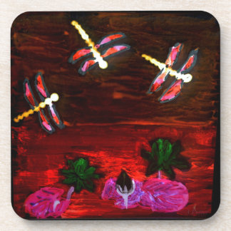 Dragonfly Lily Pond Abstract Art Coaster