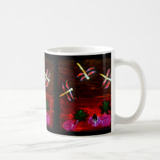 Dragonfly Lily Pond Abstract Art Coffee Mug