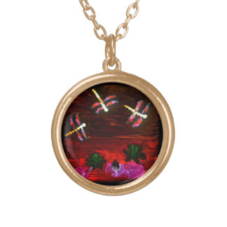 Dragonfly Lily Pond Abstract Art Gold Plated Necklace