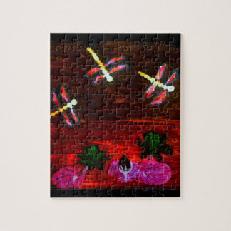 Dragonfly Lily Pond Abstract Art Jigsaw Puzzle