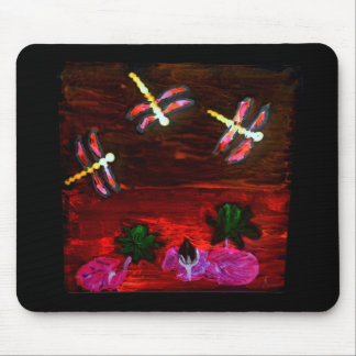 Dragonfly Lily Pond Abstract Art Mouse Mats