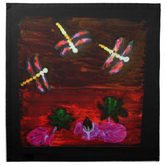 Dragonfly Lily Pond Abstract Art Napkin