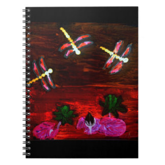 Dragonfly Lily Pond Abstract Art Notebook